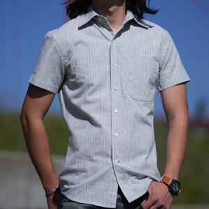 #855 Japan Heather Flax Fade Short Sleeve Shirt - Blue