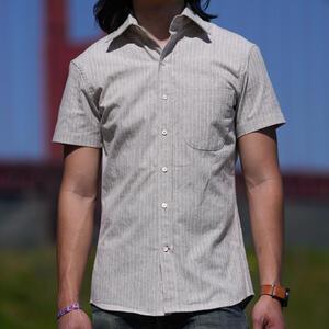 #854 Japan Heather Flax Fade Short Sleeve Shirt - Grey