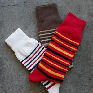 Japan Wabi Sabi Stripe Sock 3PK (White, Red, Brown)